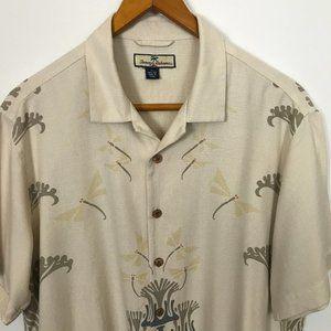 Tommy Bahama Tan Short Sleeve XL Silk Print Shirt